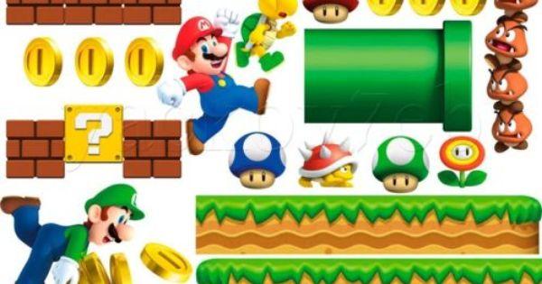 Super Mario Vinyl Decal Wall Sticker Basketball Cartoon Art Decorations for Home Boys Kids Childrens Room Nursery Video Game Decor sum5
