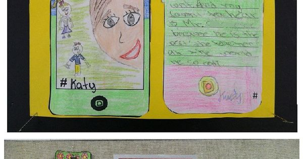 """Fun, contemporary back-to-school lesson! Have your students draw """"selfies"""" and describe their"""