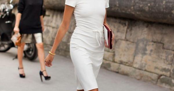 Natalia Vodianova street style white dress