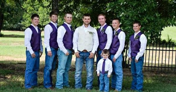Groomsmen Purple Vests White Pearl Snaps Jeans Amp Boots