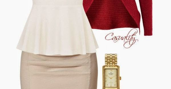 "Work wear ""White Peplum Top, Pencil Skirt, & Red Clutch"" by casuality"
