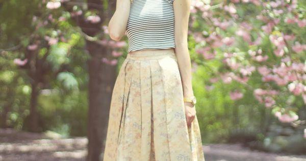 Emilee Anne wearing Zara Striped Crop Top // Vintage Brocade Skirt //