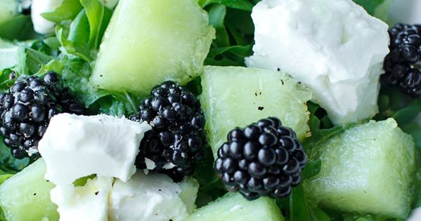 Salad with melon, blackberries and feta cheese //   * ALL ...