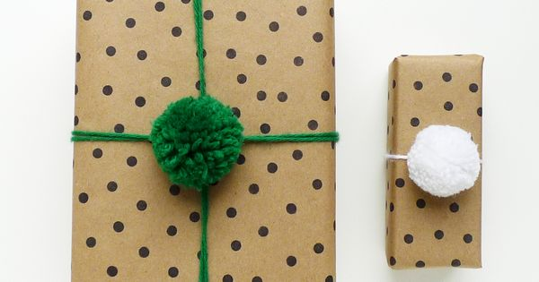 Pom Pom gift wrap DIY from Cotton & do it yourself gifts