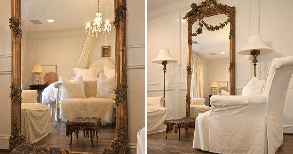 Ornate antique large floor mirror in bedroom floor for Large bedroom floor mirror