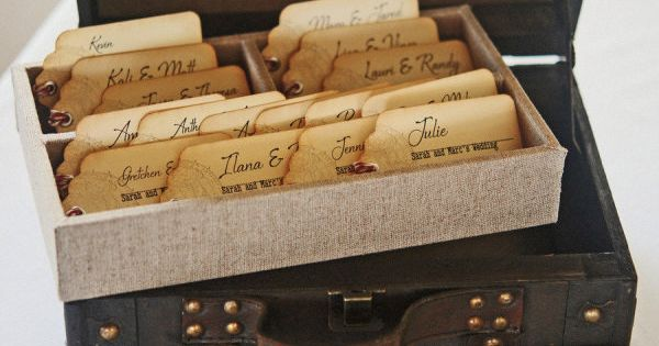 luggage tag-esque seating cards for this destination wedding in Mexico Photography by