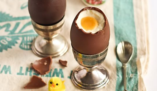 Wonderfully tasty looking cheesecake filled chocolate Easter eggs. food Easter cheesecake desserts