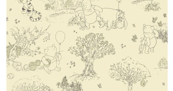 Beige Brown DK5842 Winnie The Pooh Disney Pooh And Friends Toile Wallpaper
