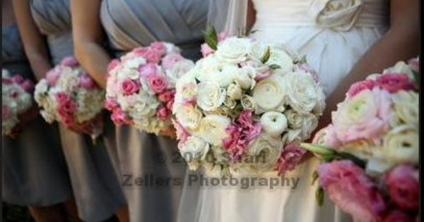 Grey bridesmaid dresses grey bridesmaids and pink bouquet on