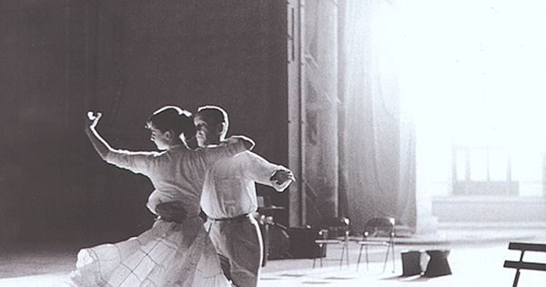 Audrey Hepburn and Fred Astaire rehearsing in Paris for Funny Face, 1957