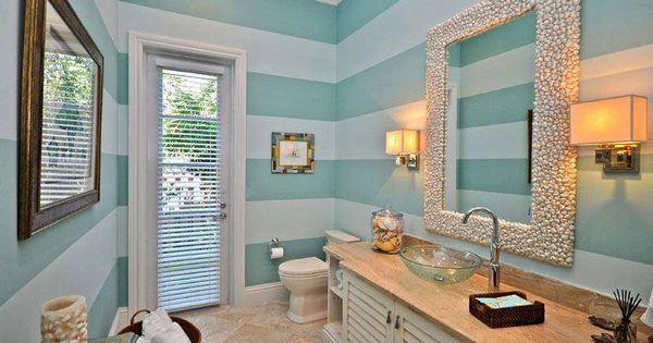 Paredes con rayas horizontales paredes pintadas - Banos con paredes pintadas ...