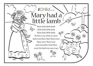 Mary Had A Little Lamb Nursery Rhyme Lyrics Find Lots