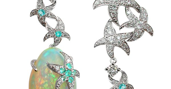 Opal Earrings with Diamond and Paraiba Tourmaline from the Océane Earrings Collection