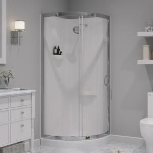 Ove Decors Breeze 31 In X 31 In X 76 In Shower Kit With Reversible Sliding Door And Shower Base Breeze 31 Shower Kit With Walls In 2020 Corner Shower Kits Shower