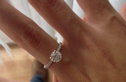 2mm Pave Ring With 1 Carat Round Diamond Weddingbee 1 Ct Engagement Ring Engagement Wedding Rings