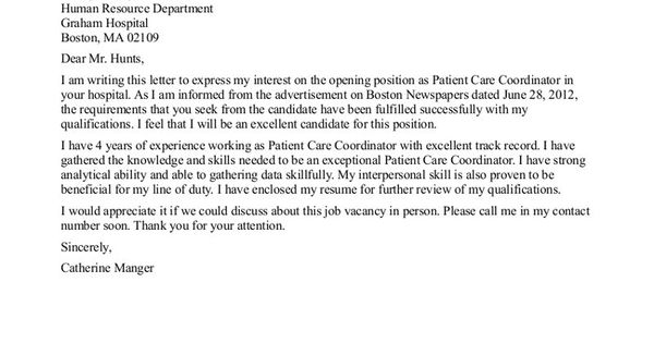patient care tech resume cover letter