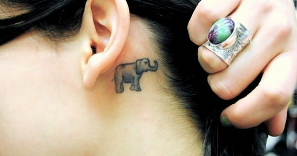 small elephant tattoo behind ear tattoos