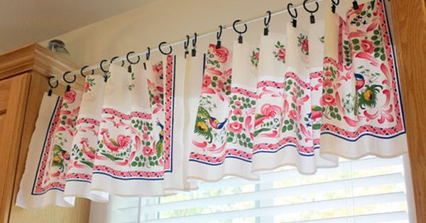 Make A Quick and Easy Window Valance out of a vintage tablecloth