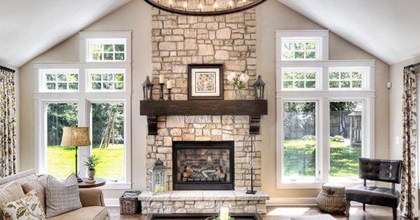 Love the fireplace on this outside wall maybe doors on for Fireplace with windows on each side