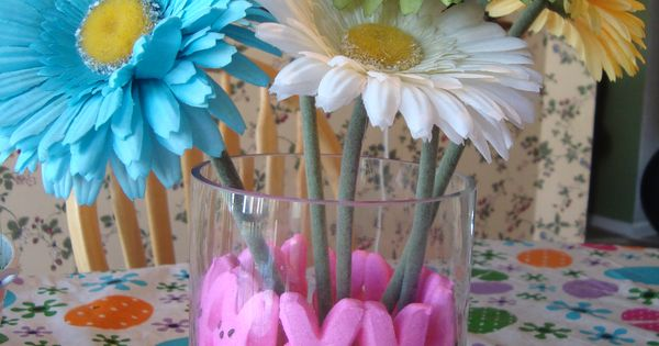 adorable table bouquet for the Easter table ... pink peeps and jelly