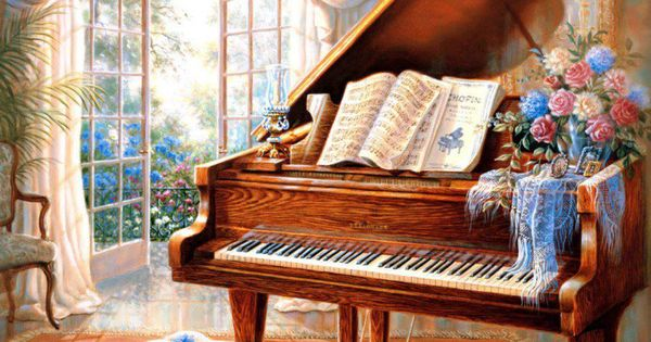 Grand Piano And Beautiful Roses Art And Paintings