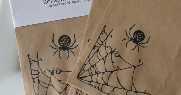 Hand stamped Halloween kraft bags that can be used as gift bags