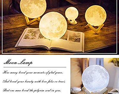 Moonlight 3d Printed Moon Lamp Touch Control Adjustable Brightness 2 Selectable Light Option Warm Yellow Cool White Lamp Cool Stuff Place Card Holders