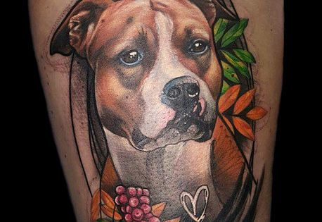 dog animal amstaff american staffordshire terrier portrait realistic freestyle tattoo by sanni. Black Bedroom Furniture Sets. Home Design Ideas