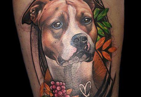 dog animal amstaff american staffordshire terrier portrait realistic freestyle tattoo by sanni. Black Bedroom Furniture Sets. Home Design Ideas
