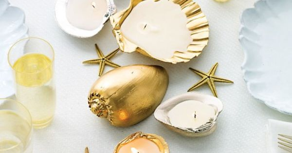 Metallic Shell Candle Holders - DIY - Great for a table decoration