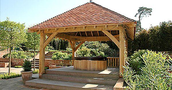 Square Oak Gazebo For Use As Hot Tub Shelter Bahce