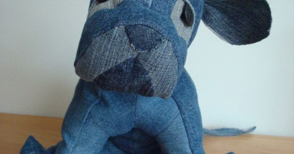Penelope Pittie Upcycled Denim Stuffed Animal by BusyBeehive, $35.00