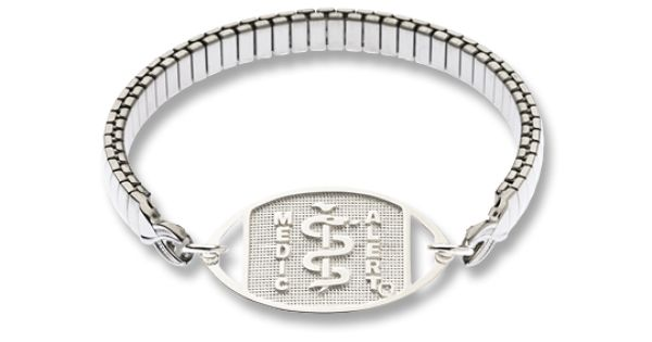 Sterling Silver Medical Id And Stainless Steel Expanda Band Medical Alert Bracelets Silver Medical Bracelet Medic Alert Bracelets