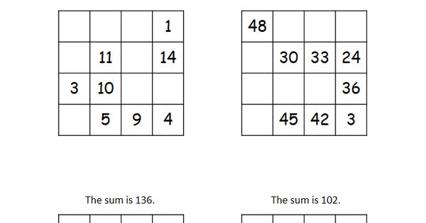 This Worksheet Has Four 4x4 Magic Squares That Require Students To Fill In The Missing Numbers