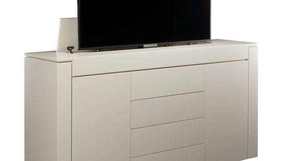 very clean modern tv lift furniture piece fits up to 65 inch tv off white special benjamin moore painted finish if you want a clean beautiful u2026