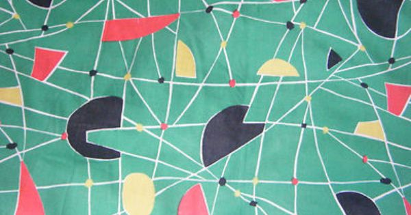 Vintage 1950s French Curtain Fabric Two Pieces Green Abstract