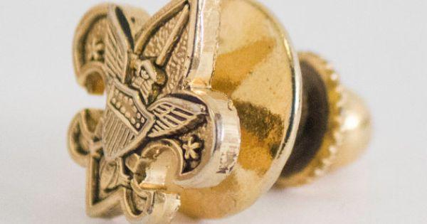Vintage Tie Pin Eagle Scout Fleur-De-Lis Gold by CuffsandClips
