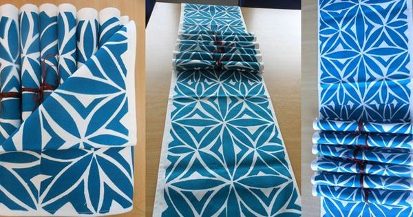 Hand Painted Table Runner And Table Mats Using Stencil