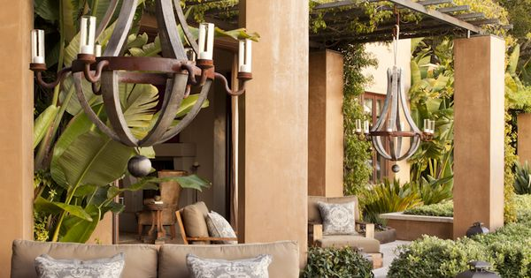 Fascinante terraza r stica con incre bles l mparas de - Terrazas de madera rusticas ...