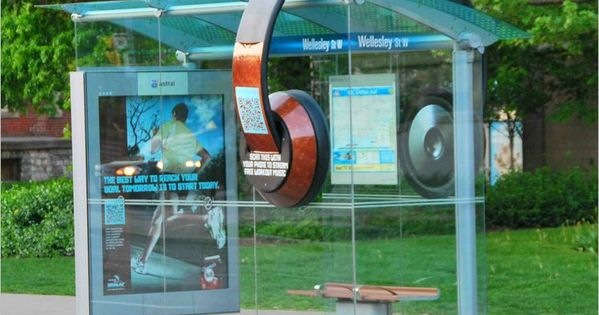 Qr code headphones decorate bus shelter illustration for Le meuble headsets