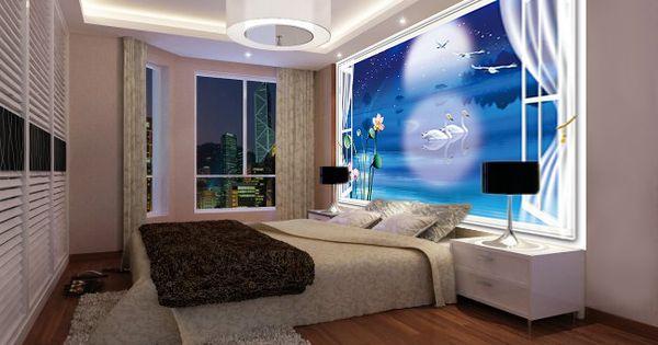 papier peint 3d personnalis paysage fantaisie romantique cygnes la nuit bleu papier peint. Black Bedroom Furniture Sets. Home Design Ideas