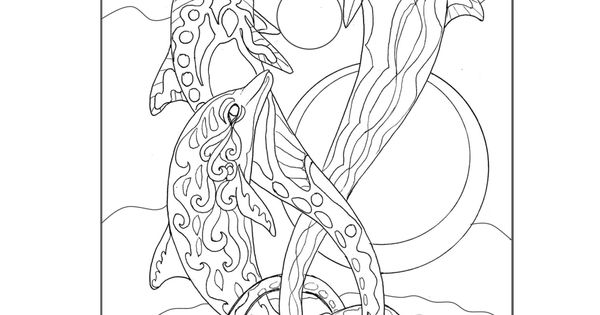 free coloring page dolphin ocean sea life from the seeking serenity adult coloring book by