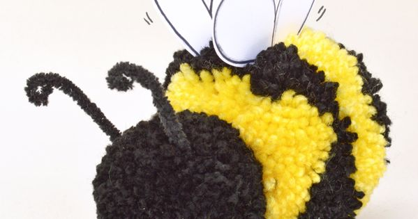 Cute pom pom craft how to make a pom pom bee pom pom for Cute pom pom crafts