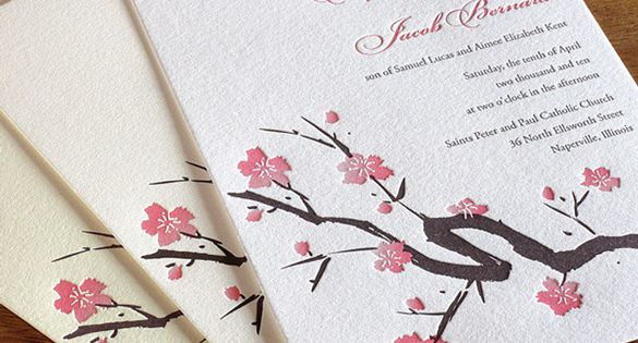 Wedding Invitation Paper Types: This Fan Of Invitations Shows The Three Different Types Of