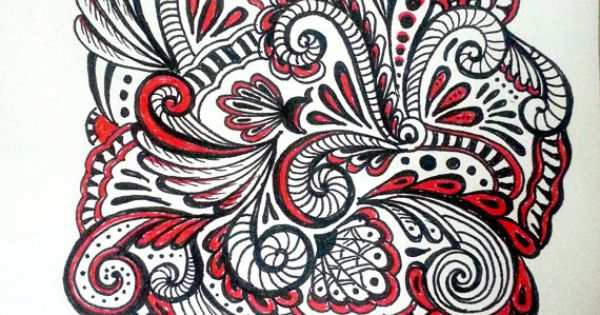 Red & Black Paisleys Original Pen and Ink Drawing by Megadesignz, $24.00