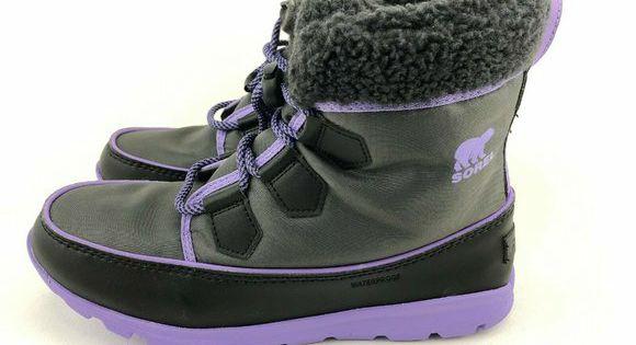Paisley Purple Sorel Girls Childrens Whitney Carnival Snow Boot Dark Grey