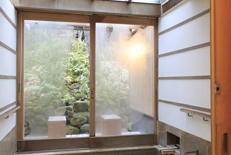 Japanese bathroom in Yufuin, Oita, Japan (This is the area (city) I