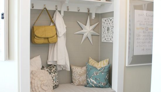 Here is another hall closet turned mud room :) I am loving
