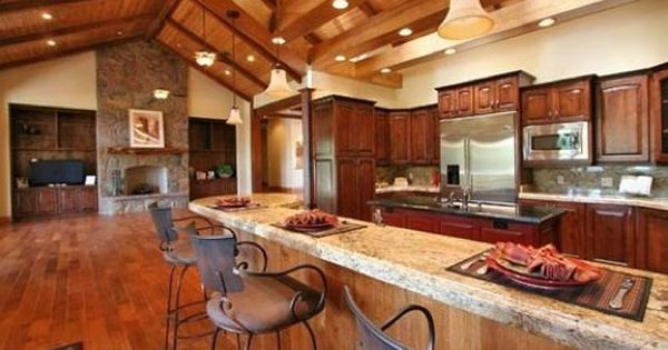 Inviting Kitchen Of Rustic Open Floor House A Bees