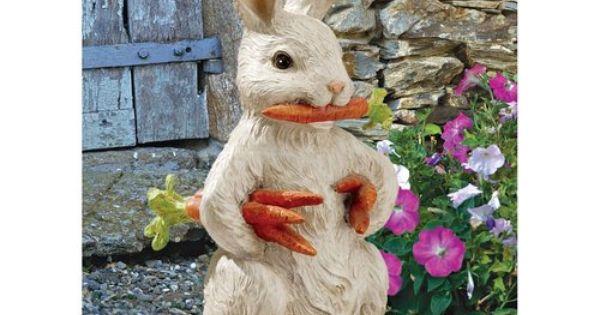 Carrot Bandit Bunny Rabbit Statue . Home Yard & Garden